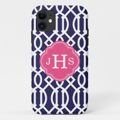 Navy Blue & Pink Modern Trellis Custom Monogram Phone Case
