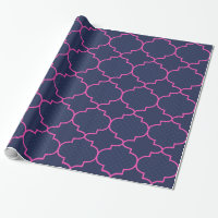 Navy Blue Pink Moroccan Pattern With Polka Dots Wrapping Paper