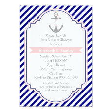 Navy blue, pink nautical couples wedding shower 5