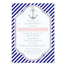 Navy blue, pink nautical wedding bridal shower 5