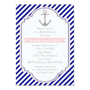 Navy blue, pink nautical wedding bridal shower 5x7 paper invitation card