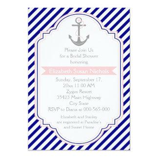 Navy blue, pink nautical wedding bridal shower 5x7 paper invitation card