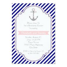 Navy blue, pink nautical wedding rehearsal dinner 5