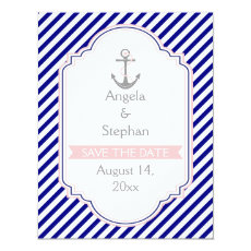 Navy blue, pink nautical wedding Save the Date 4.25