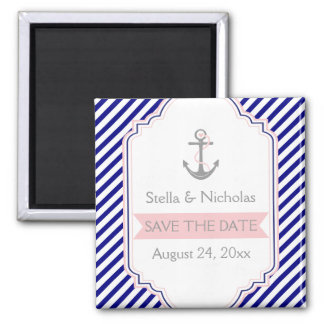Navy blue, pink nautical wedding Save the Date Magnet