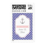 Navy blue, pink nautical wedding Save the Date Postage Stamps