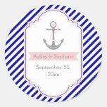 Navy blue, pink nautical wedding Save the Date Sticker
