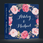 """Navy Blue Pink Peony Floral Wreath Wedding Planner 3 Ring Binder<br><div class=""""desc"""">================= ABOUT THIS DESIGN ================= Navy Blue Pink Peony Floral Wreath Wedding Planner Binder. (1) For further customization, please click the &quot;Customize&quot; button and use our design tool to modify this template. All text style, colors, sizes can be modified to fit your needs. (2) If you need help or matching...</div>"""