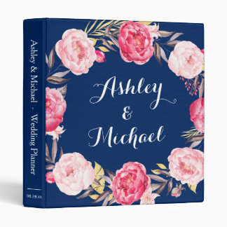 Navy Blue Pink Peony Floral Wreath Wedding Planner 3 Ring Binder