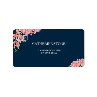 Navy blue pink peony flowers elegant wedding label