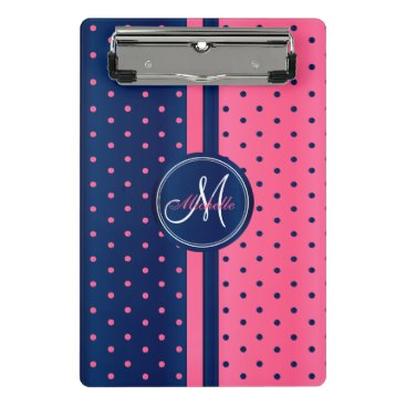 Aztec Themed Navy Blue & Pink Polka Dots - Monogram Mini Clipboard