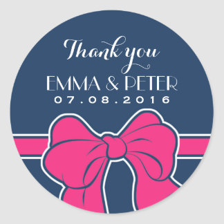 Navy Blue Pink Ribbon Wedding Thank You Sticker