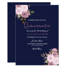 Navy Blue Pink & Rose Gold Quinceanera Invitation