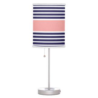 Navy Blue & Pink Stripe Pattern Table Lamp