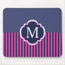 Navy Blue Pink Stripes Monogram Mouse Pad