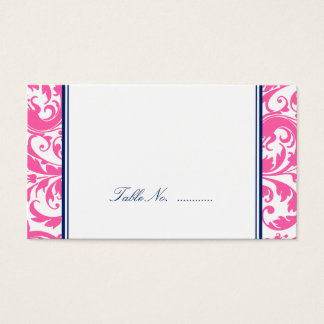 Navy Blue Pink Swirl Damask Wedding Place Cards
