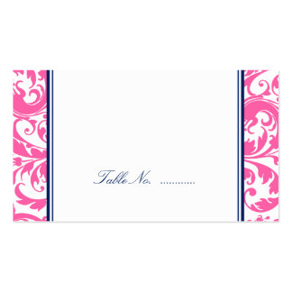 Navy Blue Pink Swirl Damask Wedding Place Cards Business Card