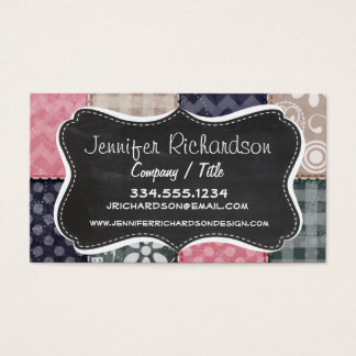 Navy Blue, Pink, Tan, and Gray Cute Quilt look Business Card