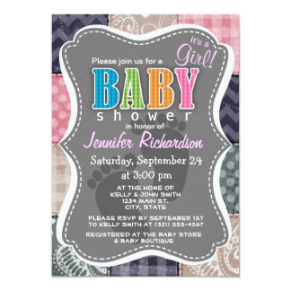 Navy Blue, Pink, Tan, and Gray Cute Quilt look Card