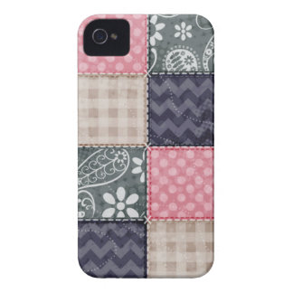 Navy Blue, Pink, Tan, and Gray Cute Quilt look iPhone 4 Case