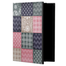 Navy Blue, Pink, Tan, and Gray Cute Quilt look Case For iPad Air