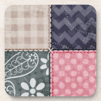 Navy Blue, Pink, Tan, and Gray Cute Quilt look Coaster