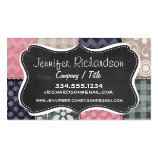 Navy Blue, Pink, Tan, and Gray Cute Quilt look Double-Sided Standard Business Cards (Pack Of 100)