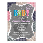 Navy Blue, Pink, Tan, and Gray Cute Quilt look Custom Announcement
