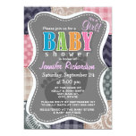 Navy Blue, Pink, Tan, and Gray Cute Quilt look 5x7 Paper Invitation Card