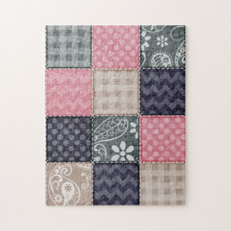 Navy Blue, Pink, Tan, and Gray Cute Quilt look Jigsaw Puzzle