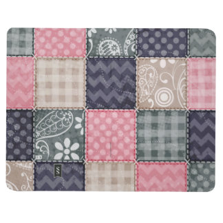 Navy Blue, Pink, Tan, and Gray Cute Quilt look Journal