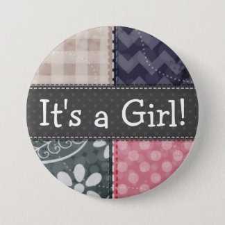 Navy Blue, Pink, Tan, and Gray Cute Quilt look Pinback Button