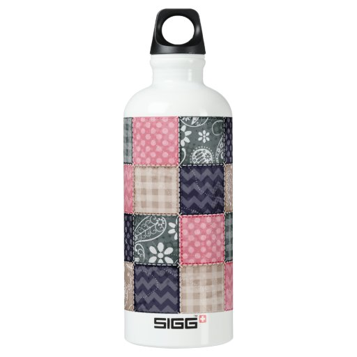 Navy Blue, Pink, Tan, and Gray Cute Quilt look SIGG Traveler 0.6L Water Bottle
