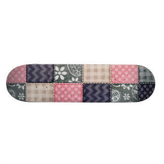 Navy Blue, Pink, Tan, and Gray Cute Quilt look Skateboard