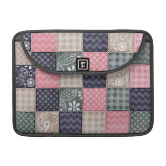 Navy Blue, Pink, Tan, and Gray Cute Quilt look Sleeve For MacBook Pro