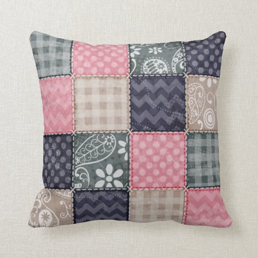 Navy Blue, Pink, Tan, and Gray Cute Quilt look Throw Pillow Zazzle