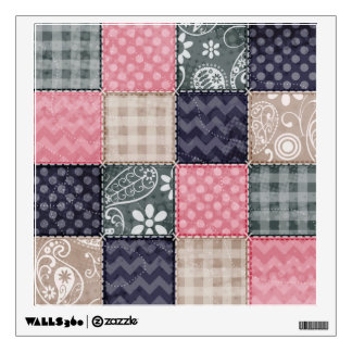 Navy Blue, Pink, Tan, and Gray Cute Quilt look Wall Decal