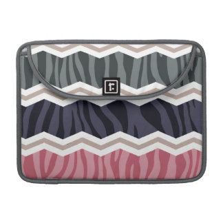 Navy Blue, Pink, Tan, and Gray Zebra Stripes Sleeve For MacBooks