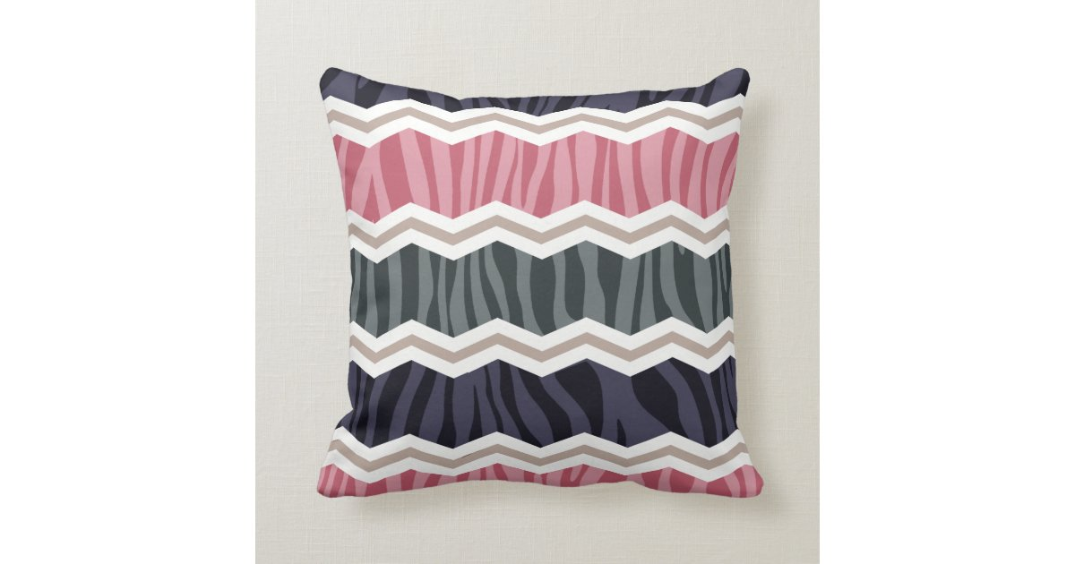 Navy And Pink Decorative Pillows: Navy Blue, Pink, Tan, And Gray Zebra Stripes Throw Pillow
