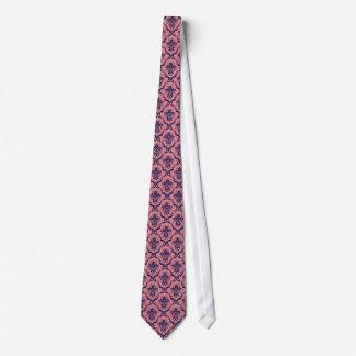 Navy Blue & Pink Vintage Damasks Pattern Neck Tie