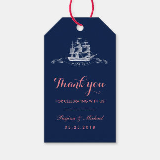 Navy Blue Pink Vintage Ship Beach Wedding Gift Tag