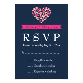 Navy Blue Pink Wedding RSVP Card with Love