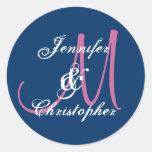 NAVY BLUE PINK WHITE Monogram Wedding Sticker