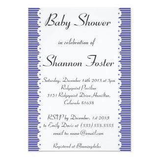 Navy Blue Pinstripes Baby Shower Invitation