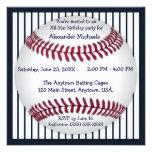 Navy Blue Pinstripes Baseball Birthday Party Custom Announcements