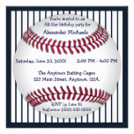 Navy Blue Pinstripes Baseball Birthday Party Custom Announcements