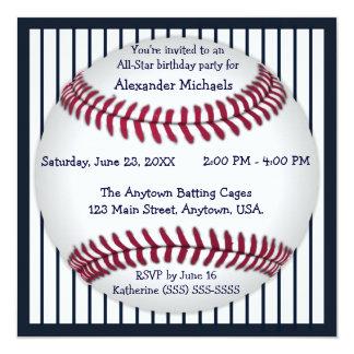 Navy Blue Pinstripes Baseball Birthday Party 5.25x5.25 Square Paper Invitation Card