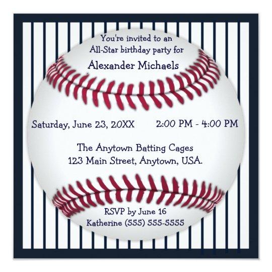 Navy Blue Pinstripes Baseball Birthday Party Invitation