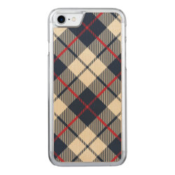 Navy Blue Plaid Pattern Carved iPhone 7 Case