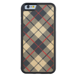Navy Blue Plaid Pattern Carved® Maple iPhone 6 Bumper Case